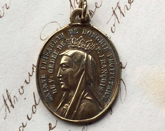 Antique St Elizabeth of Hungary / St Francis of Assisi Medal