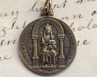 Antique Queen of Martyrs / St Victor Medal