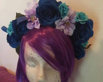 Floral crown, Rose Crown, Flower crown, Blue rose, Purple, Teal, Ready to ship, Bohemian, Boho, MsFormaldehyde