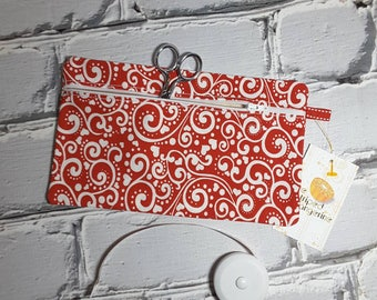 Red Heart Scrolls Pencil Case, Knitting and Crochet Notions Pouch