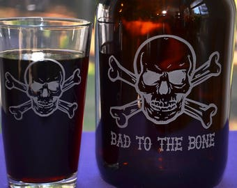 Skull and Crossbones Custom Engraved Growler, Personalized 64 oz Amber Jug, Bad to the Bone Glass Beer Decanter