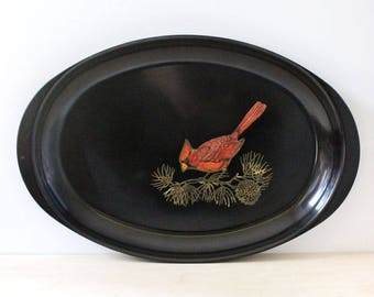 Cardinal. Vintage Couroc of Monterey oblong tray with bird design.