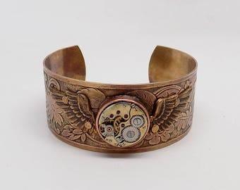 Steampunk cuff bracelet . Steampunk brass metal cuff bracelet. Steampunk bracelet.