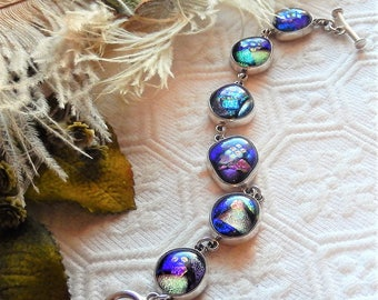 Artisan Crafted One of a Kind Sterling Silver Dichroic Glass Toggle Bracelet