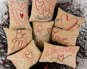 Valentine Mini Pillows Ornies Pattern PDF   Embroidery Heart Bowl Fillers  Primitive Stitchery Pinkeep Pin Cushion
