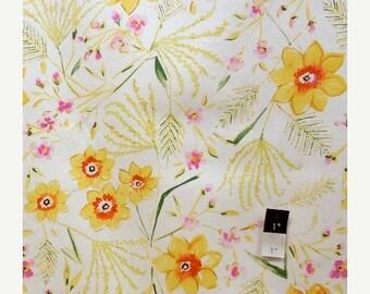 CLEARANCE SALE Dena Designs LIDF003 Sunshine Jasmine White Linen Fabric 1 Yd