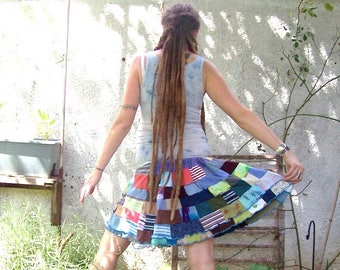 Going Where the Wind Goes ~ Ecofriendly Gypsy Rainbow Patchwork Hippie Adjustable Drawstring Skirt