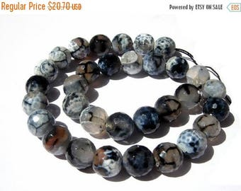 50% Off Sale 14 Inches - Finest Quality Extremely Beautiful Natural Shaded Gray Black Agate Faceted Round Beads, Size 14x14mm approx