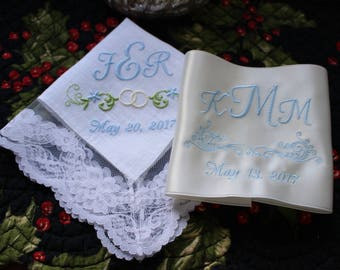 Something Blue Bride's Linen Monogrammed Wedding Handkerchief and Swiss Satin Wedding Dress Label Set