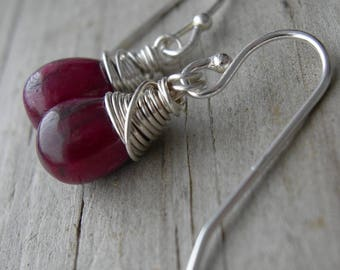 Ruby Sterling Silver Wire Wrapped Earrings