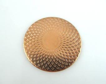 Enameling Supplies, Mandala, Copper Enameling Supplies, Textured Copper Disc 38MM, JA-JAED-001