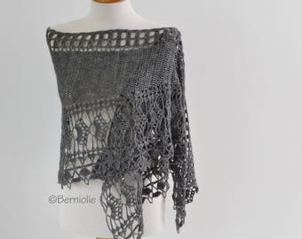 Grey crochet scarf / shawl lace with 36 Tibetan silver beads