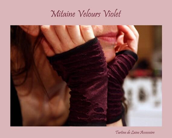 Velvet Glove/cuff devoured stretchy purple, lined cotton jersey
