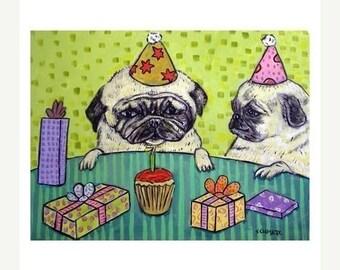 20 % off storewide Pug Birthday Party Dog Art Print