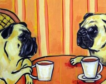 20 % off storewide pugs, pug art, PUG tile, coffee, coffee art, coffee tile, coaster, gift, modern folk, pop art