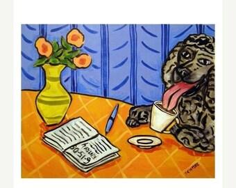 20 % off storewide Poodle at the Coffee Shop Dog Art PRINT  JSCHMETZ modern abstract folk pop art american ART gift