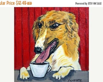 20 % off storewide Borzoi at the Coffee Shop Dog Art Tile Coaster Gift