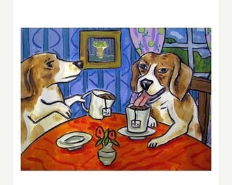 20 % off storewide Beagles Having Tea Dog Art Print