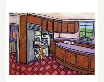 20% off storewide Basenji Raiding the Fridge Dog Art PRINT 11x14 AMERICAN modern abstract pop folk art GIFT jschmetz