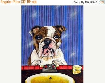 20% off storewide PRINT, bulldog art PRINT , poster, gift, modern folk, bathroom art
