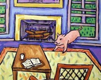 20% off Pig Breaking in Animal Art Tile Coaster Gift