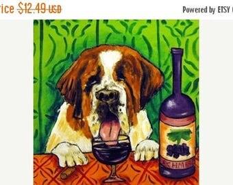 20% off Saint Bernard Wine Art Dog Art Tile Coaster Gift  JSCHMETZ american modern FOLK  POP art
