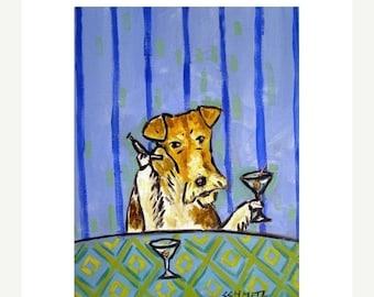 20% off Fox Terrier Having a Martini Dog Art Print