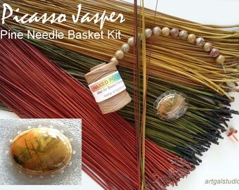 Pine Needle Basket Kit Picasso Jasper Cabochon Center - Waxed Thread - Jasper Beads - Dyed Pine Needles