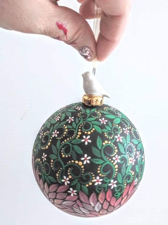 Hand painted glass ornament with birdie topper green and red Christmassy bauble