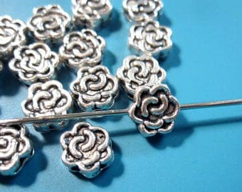 Antique Silver Plated Rose Edge Drilled Double Sided Metal Beads 6x3mm Coin Spacer Beads MB1137 F17