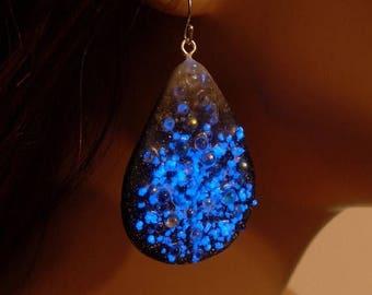 ON SALE Polymer clay, glow in the dark, teardrop, black, white, blue dangle earrings