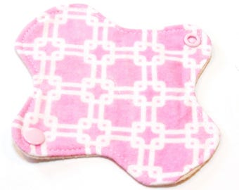 "6"" Reusable Cloth winged ULTRATHIN Pantyliner - Pink Crosses -Cotton flannel top"