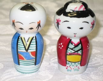 Vintage Salt and Pepper Ceramic Kokeshi Dolls for Display and Decor