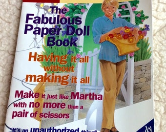 VINTAGE PAPERDOLL BOOK Martha Stewart. fun cutouts, dressup cartoons, outfits, accessories, kitsch, collectible parody