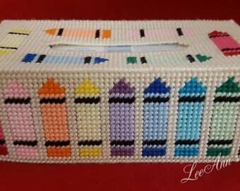 Crayon Tissue Box Cover Plastic Canvas
