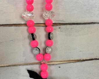 Hot pink panda necklace