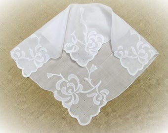 "Vintage Handkerchief White Wedding Hankie Hand Embroidered Floral Applique 16"" inch large Bridal Party Shower Hanky Gift for Her"