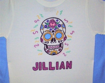 Sugar Skull Shirt, Girls Clothing, Girls Skull Shirt, Personalized Skull Shirt, Day of the Dead Shirt