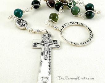 Irish Penal Rosary Green Fancy Agate Celtic Knot An Paidrin Beag Wire Wrapped Unbreakable Prayer Beads