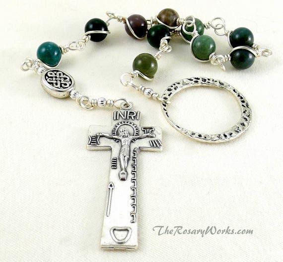 Irish Penal Rosary Green Fancy Agate Celtic Knot An Paidrin