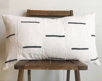Authentic African Mudcloth cream with black dash lumbar pillow / boho / modern