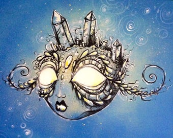 "Moon Crystal original 14""x11"" acrylic painting on canvas"