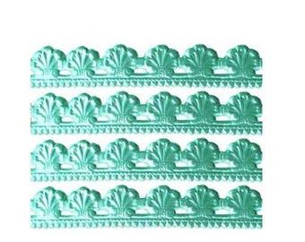 Germany Aqua Embossed Sea Shell Foil Paper Lace Dresden Trim  DFW207SF