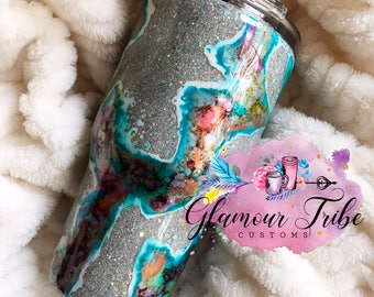 Silver and Turquoise Geode Glitter Dipped Stainless Steel  Tumbler Cup
