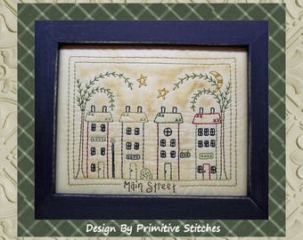 Main Street-Primitive Stitchery E-PATTERN-INSTANT DOWNLOAD