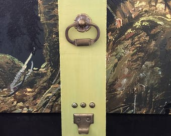 Vintage Olive Green Key Holder - Cottage Decor - Farmhouse Decor - Reclaimed - Up-Cycled Decor