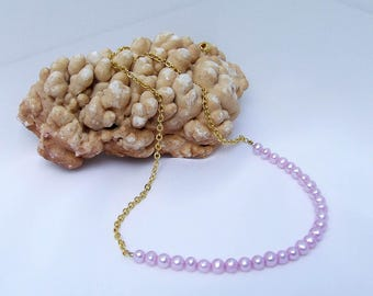 Pearl Necklace, purple necklace, gold necklace, beaded chain, lavender necklace, lilac necklace, freshwater pearl