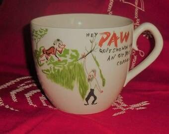 Vintage Hey Paw Ceramic Coffee Mug