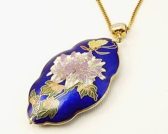 Vintage Cloisonne Enamel Pendant Butterfly & Floral