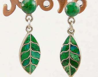 Southwestern Earrings Sterling 950 Silver Malachite Inlay Leaf